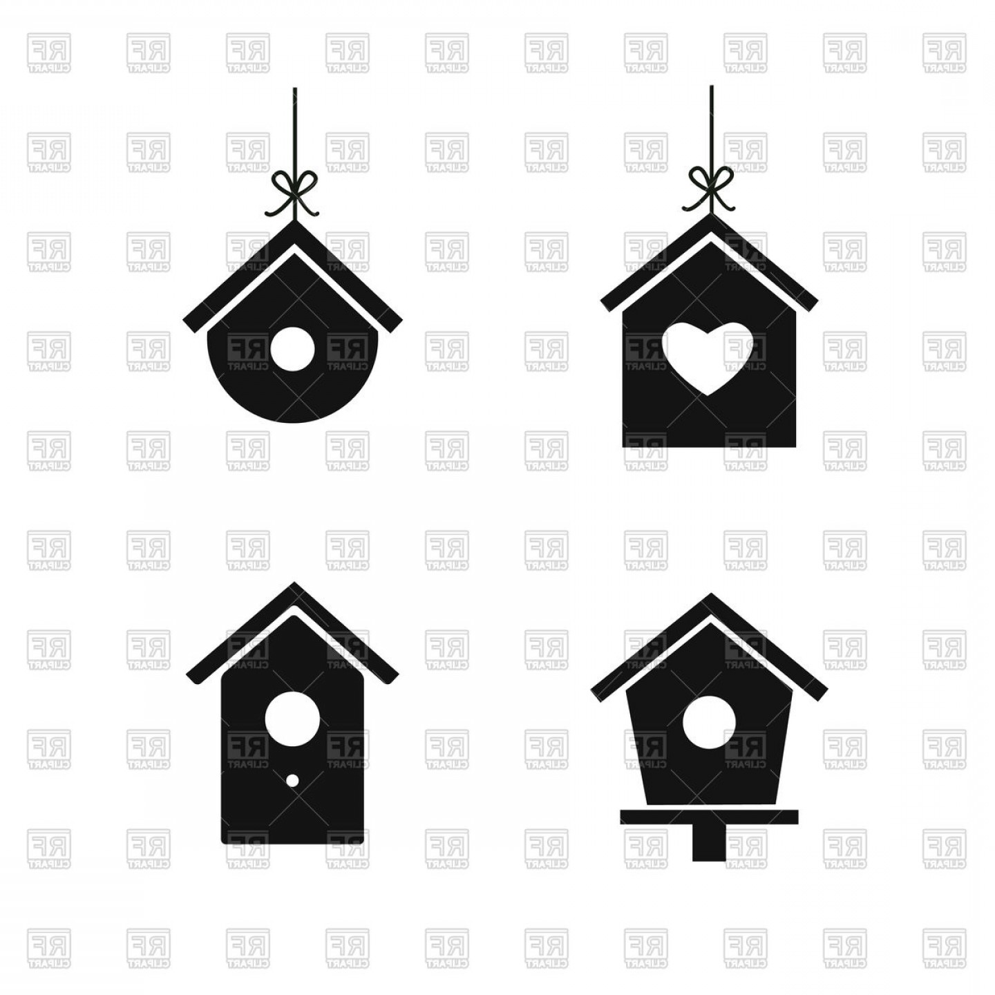Vector Bird House: Bird House Icons Vector Clipart