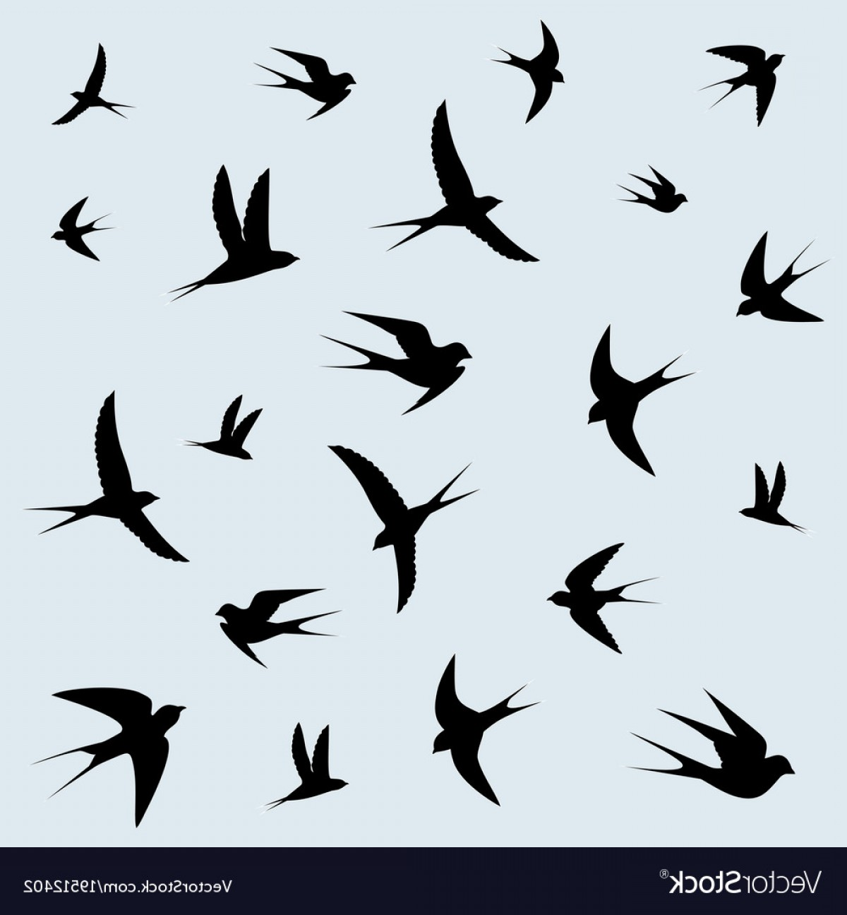 Swallow Vector: Bird Swallows Flying In The Sky Vector