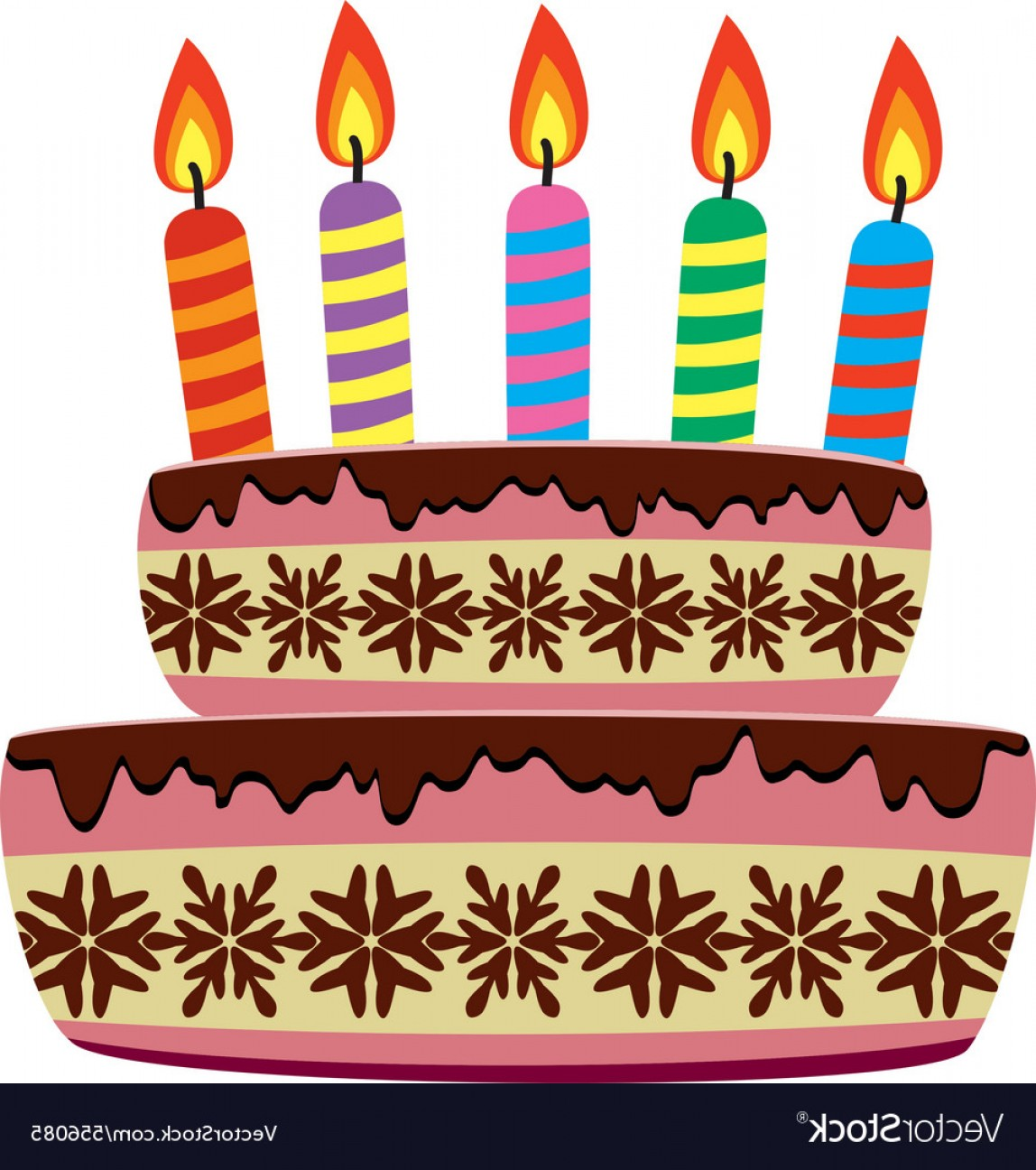Birthday Candle Vector Art: Birthday Cake With Burning Candles Vector