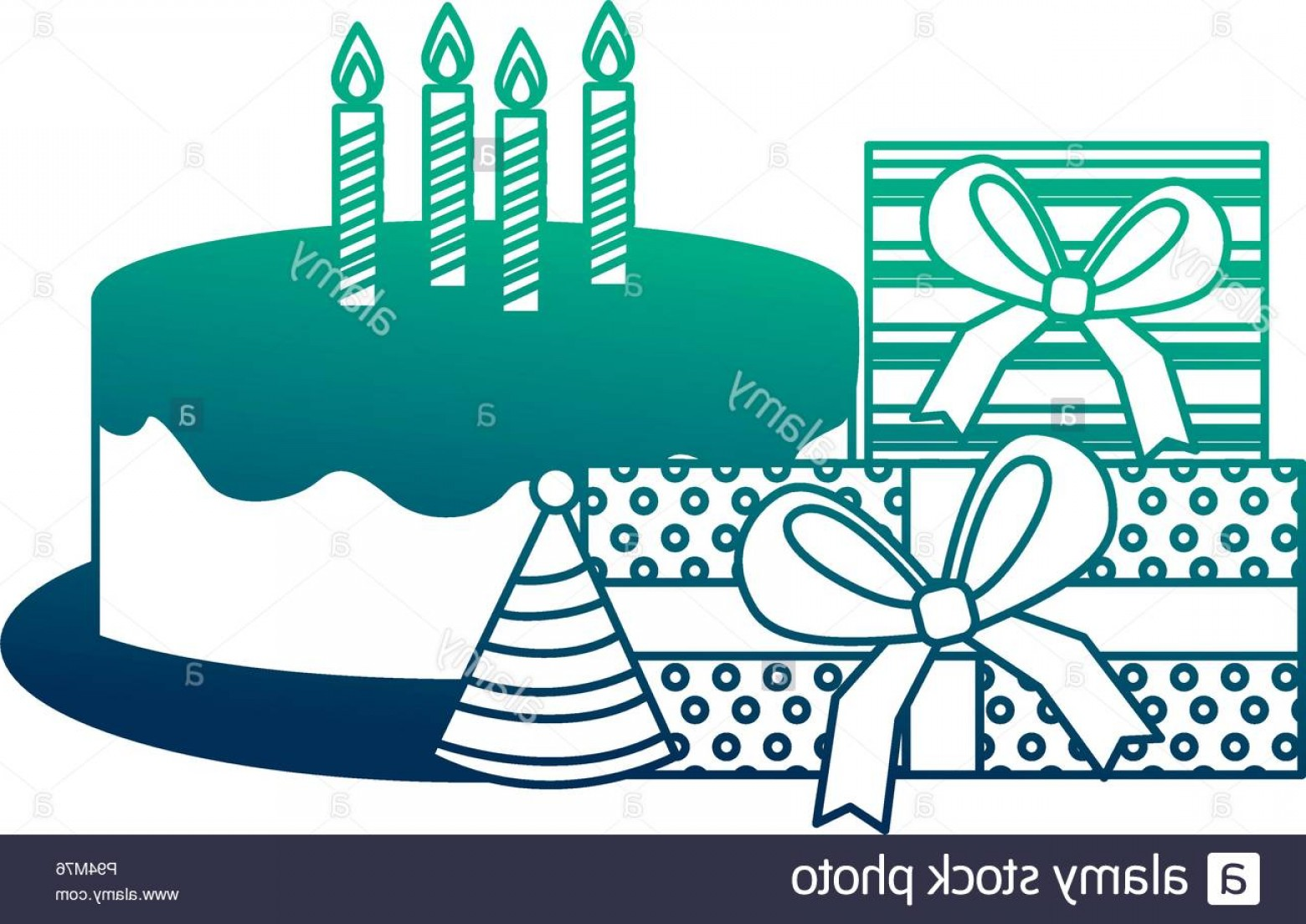 Teal Birthday Hat Vector: Birthday Cake With Candles Gift Boxes Party Hat Vector Illustration Neon Design Image