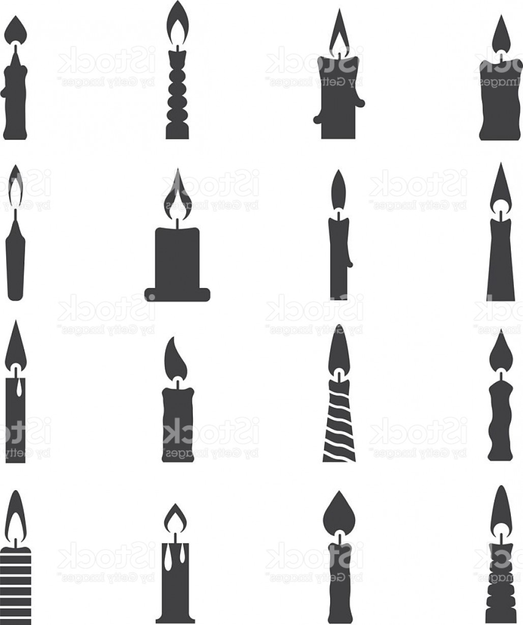 Birthday Candle Vector Art: Birthday Candle Black Vector Icons Isolated On White Gm