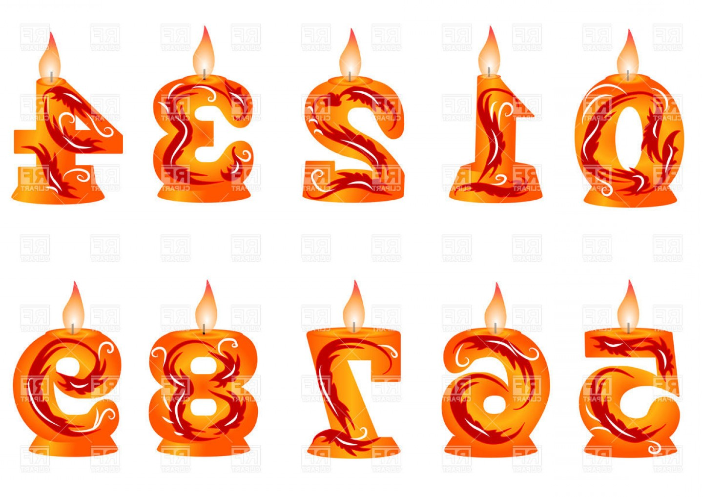Birthday Candle Vector Art: Birthday Candle Made As Numbers Vector Clipart