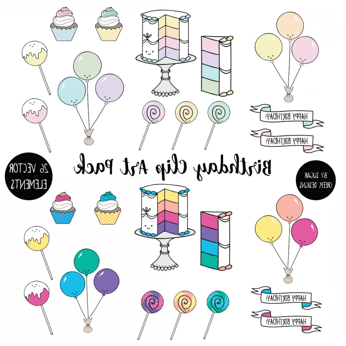 Creek Vector: Birthday Clip Art Pack Vector Pastel Brights Elements