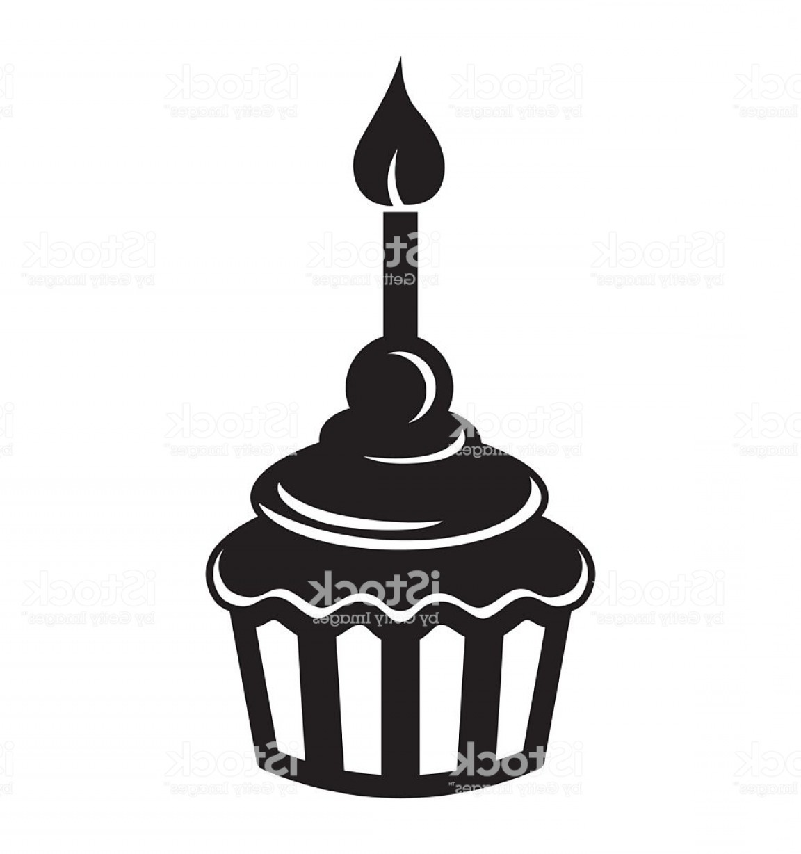 Candle Vector Black: Birthday Cupcake With Candle Icon Gm