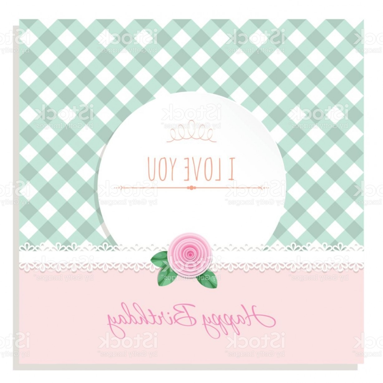 Birthday Card Vector Frame Designs: Birthday Greeting Card Template Round Frame On Plaid Background Shabby Chic Design Gm