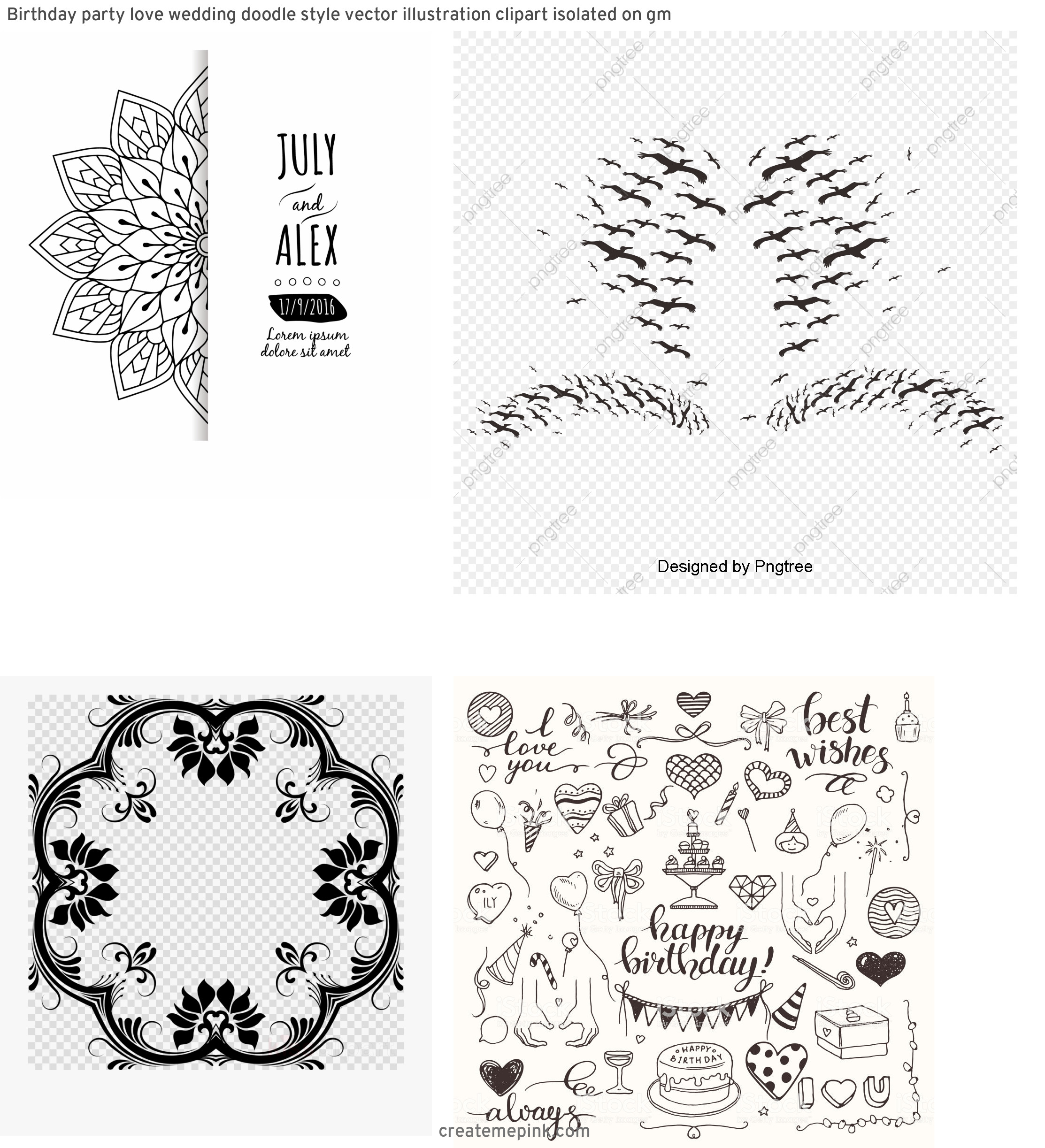 White Clip Art Vector Design: Birthday Party Love Wedding Doodle Style Vector Illustration Clipart Isolated On Gm