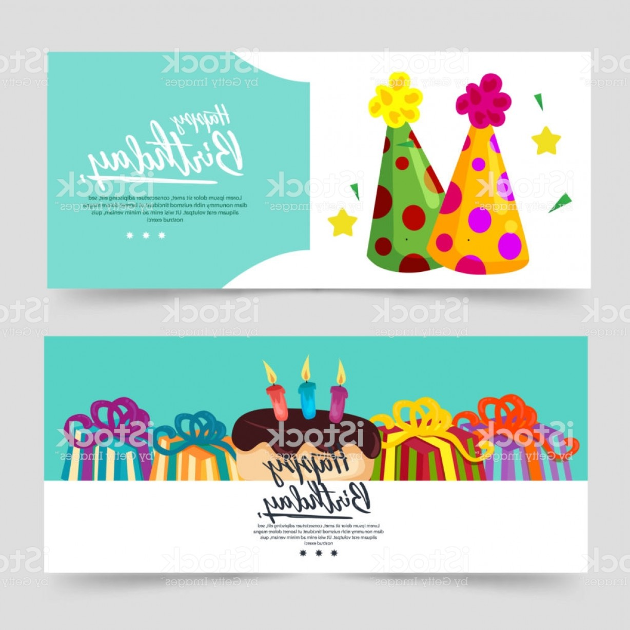 Teal Birthday Hat Vector: Birthday Theme Banner With Turquoise Color And Party Hat Gm