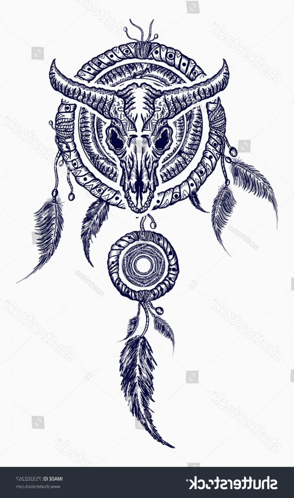 Dreamcatcher Tattoo Vector: Bison Skull Indian Dream Catcher Tattoo