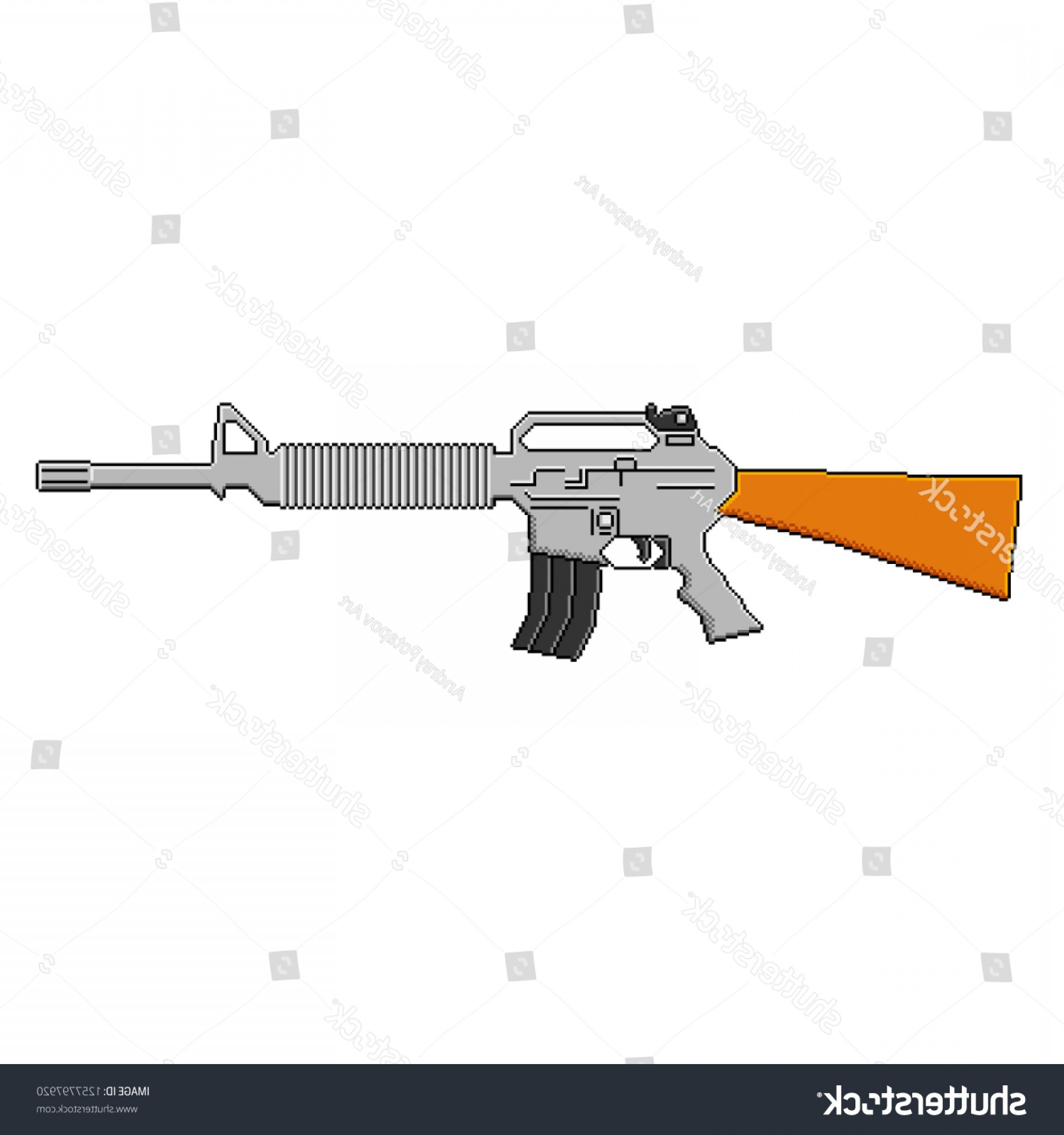 Nato Assault Rifles Vector Graphics: Bit Pixel Art Vector Weapon