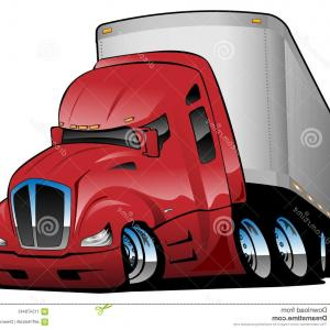 MB Wheels Vector Chrome: Big Rig Semi Truck Tractor Trailer Cartoon Vector Illustration Red Chrome Wheels Big Tires Aggressive Stance Semi Truck Image