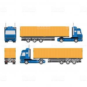 Big Truck With Trailer Vector: Big Truck Illustration Vector On White Background