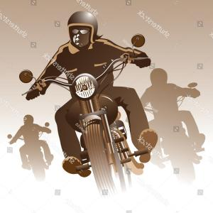 Dirt Bike Gas Can Vector: Bikers On Road Vector Illustration