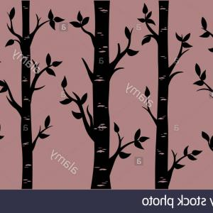 Birch Trees Pattern Vector: Birch Grove Background Vector Birch Or Aspen Trees With Leaves Pattern Suitable For Laser Cutting Or Print Image