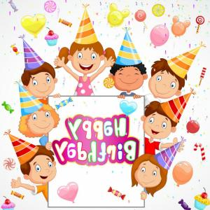 Happy Birthday Vector Art Backdrop: Birthday Background With Happy Children Vector