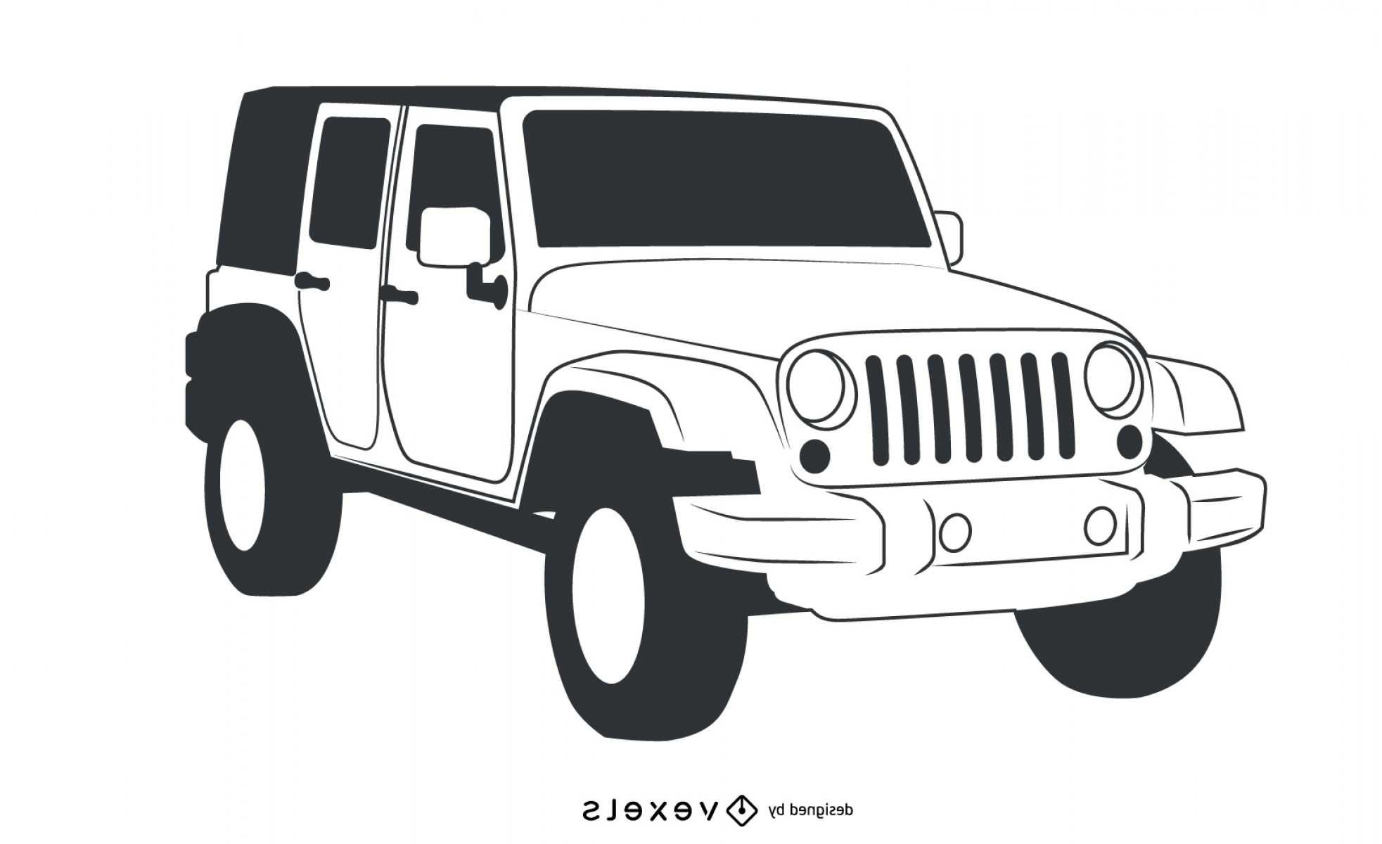 Jeep Tire Vector: Black Amp White Hand Traced Jeep Wrangler
