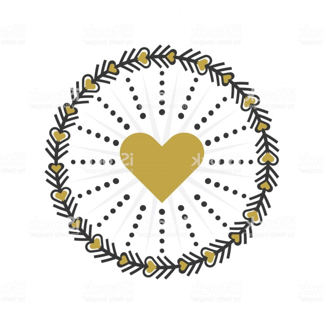 Wreath Circle Logo Vector: Black And Golden Circle Heart Wreath Emblem Icons On White Background Gm