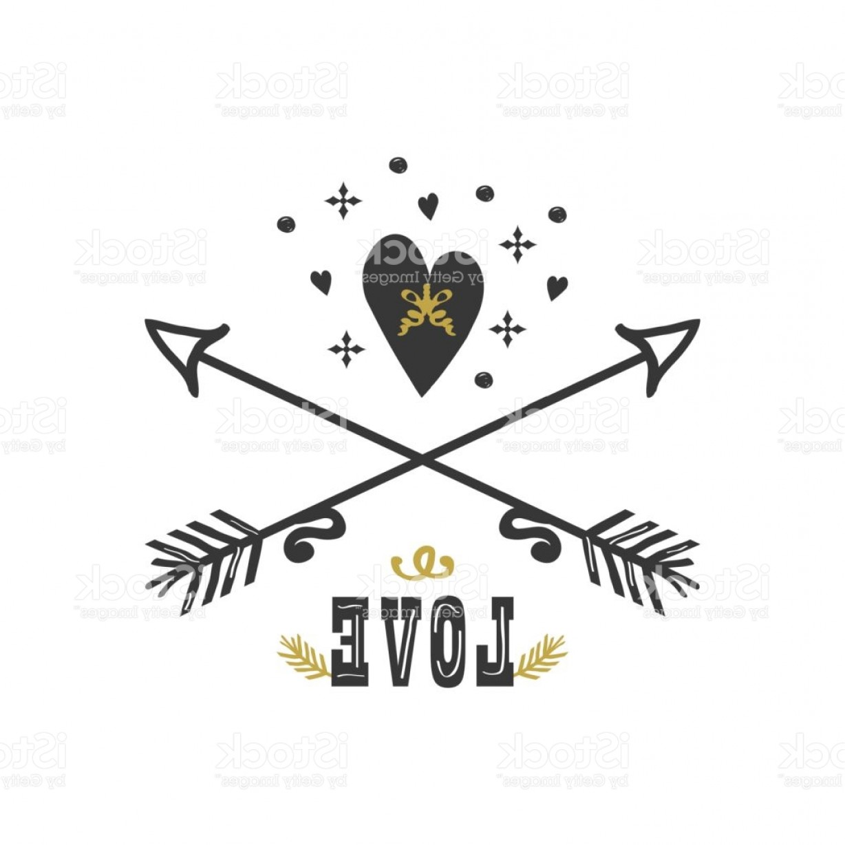 Love With Arrows Vector: Black And Golden Hand Drawn Love Heart And Crossed Arrows Icons On White Background Gm