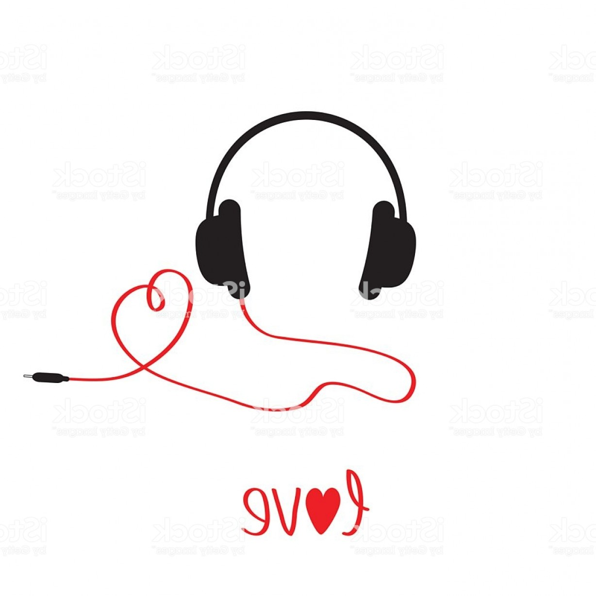 Short Cord Vector: Black And Red Headphones With Cord In Shape Of Heart Gm