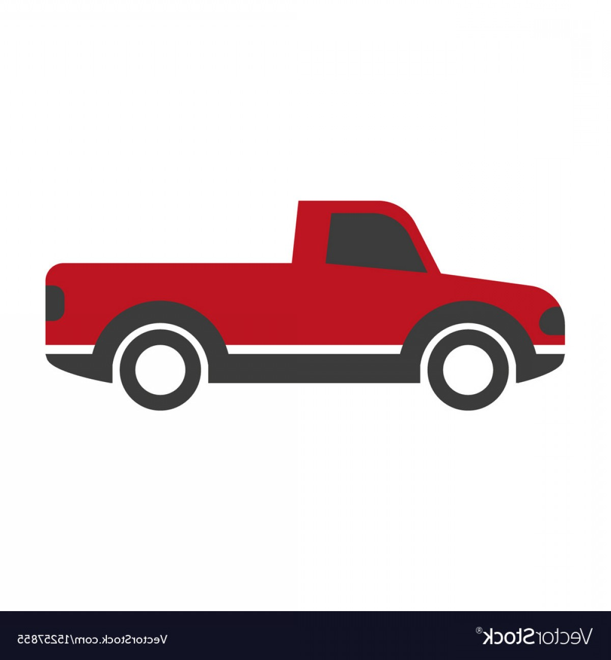 Vector Pick Up: Black And Red Pick Up Truck Vector