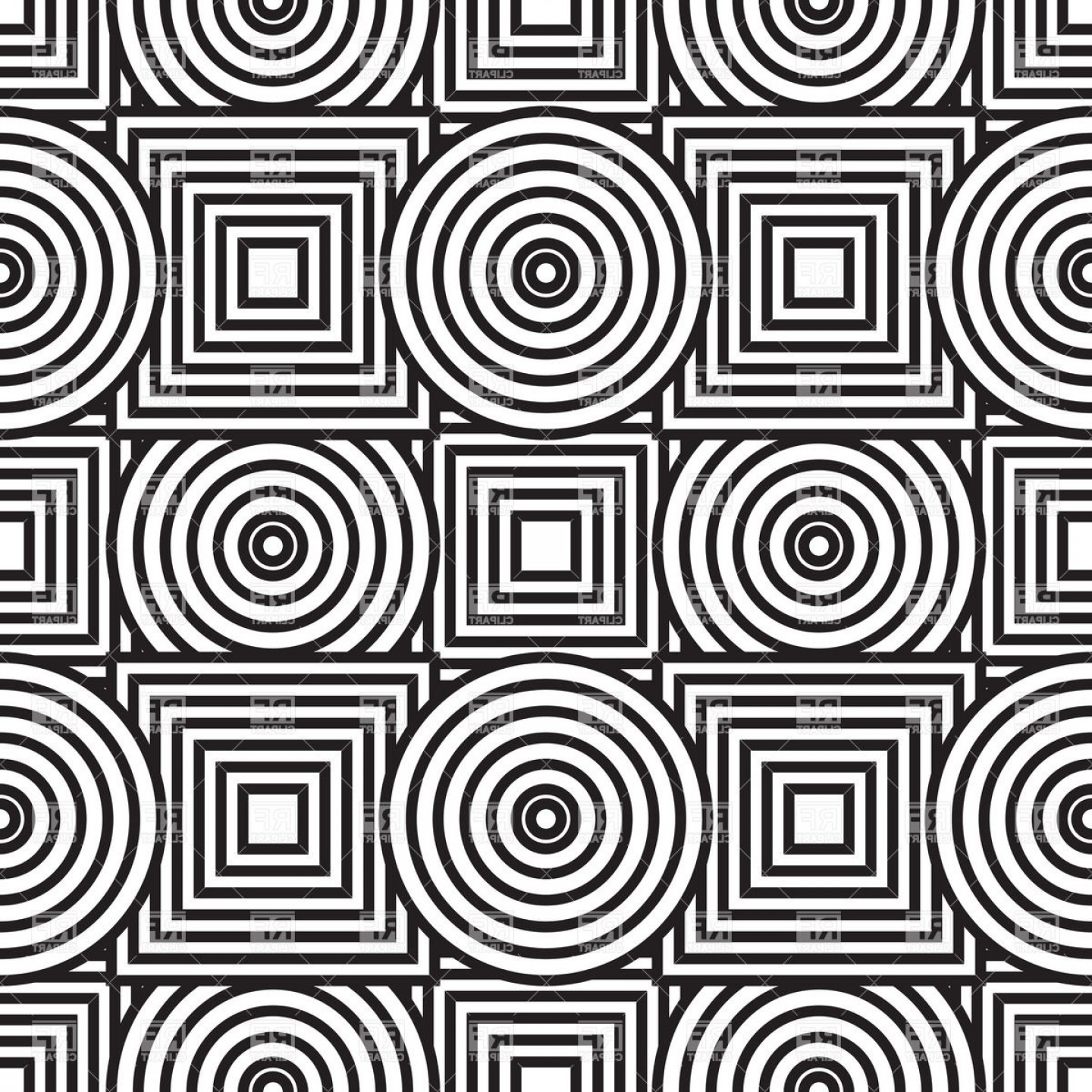 Black And White Circle Vector Graphics: Black And White Abstract Background With Circles And Squares Vector Clipart