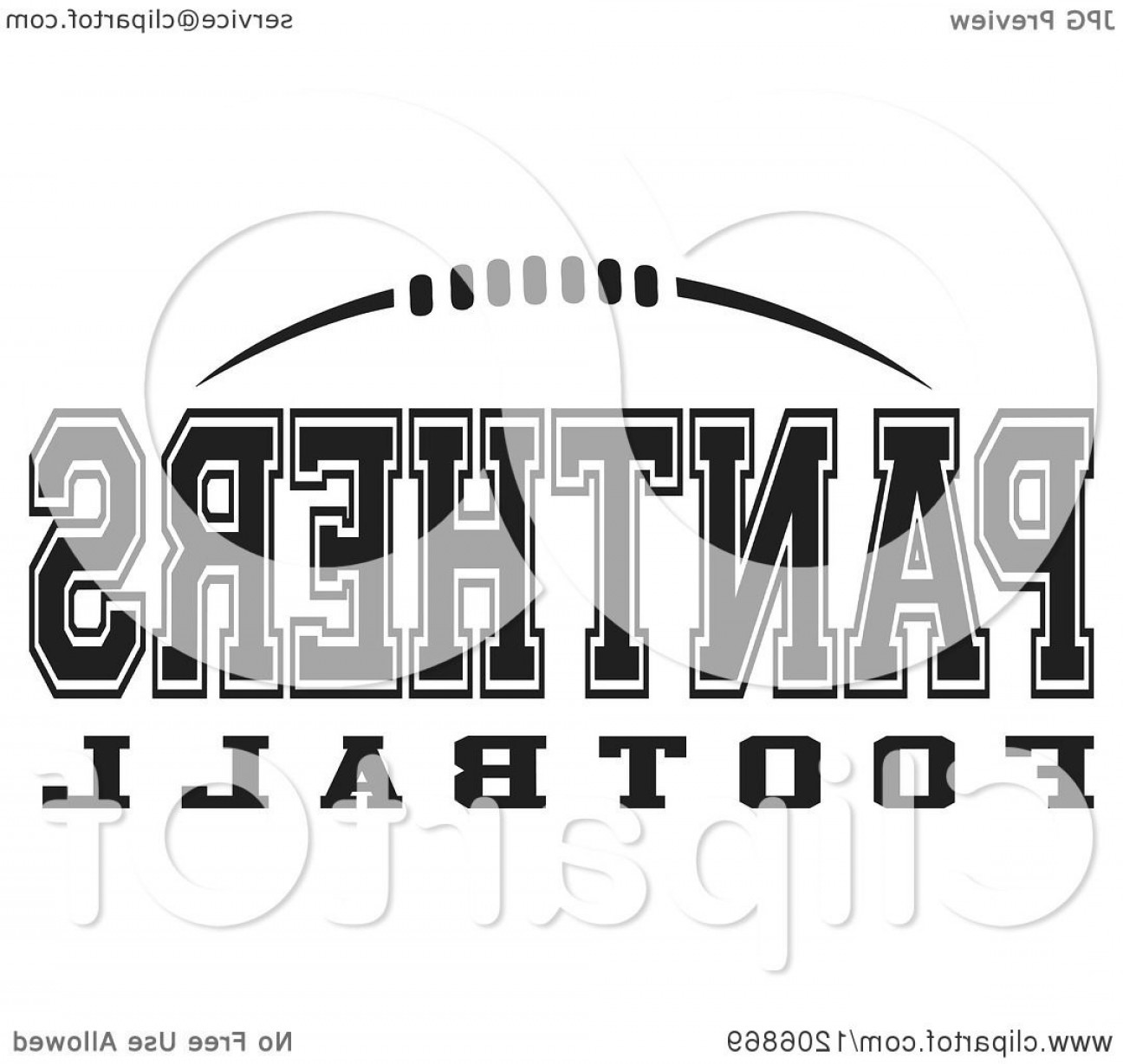 Vector Panther Football: Black And White American Football And Panthers Football Team Text