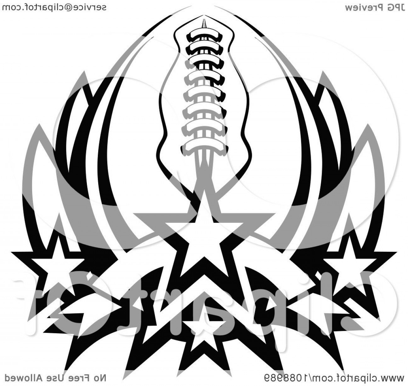Black And White Vector American Football: Black And White American Football With Stars Forming A Lotus