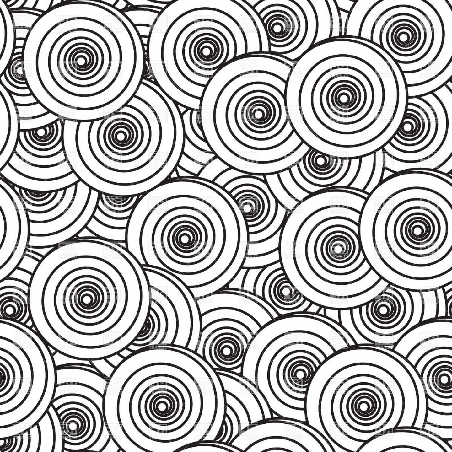 Black And White Circle Vector Graphics: Black And White Background With Spiral Circles Vector Clipart