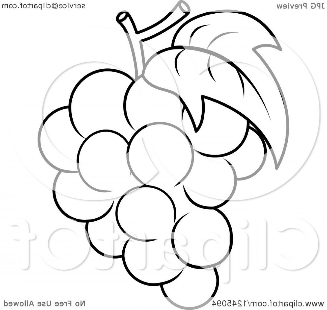 Grapes Clip Art Vector: Black And White Bunch Of Grapes