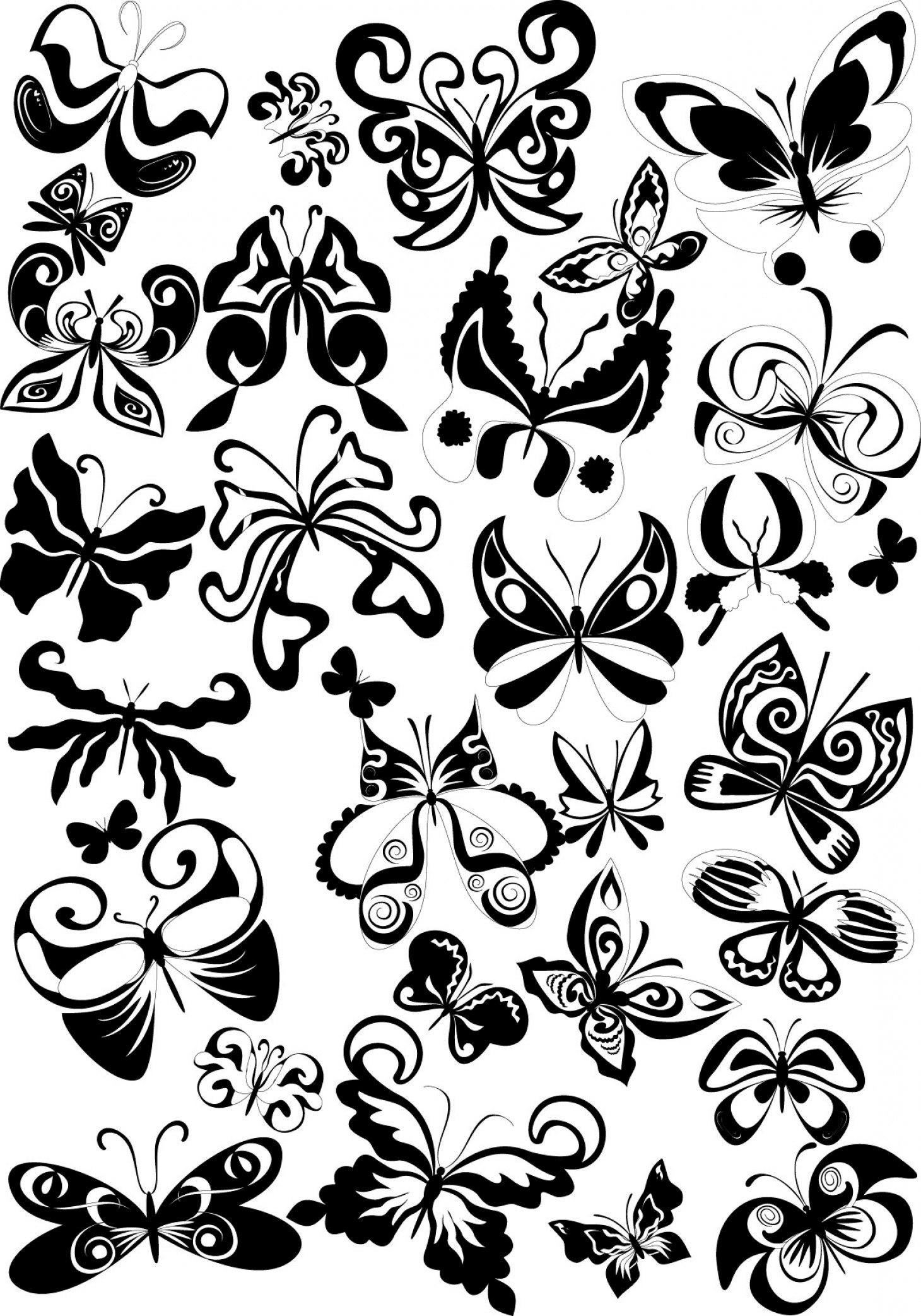 Butter Fly And Flower Vector Black And White: Black And White Butterfly Element Vector