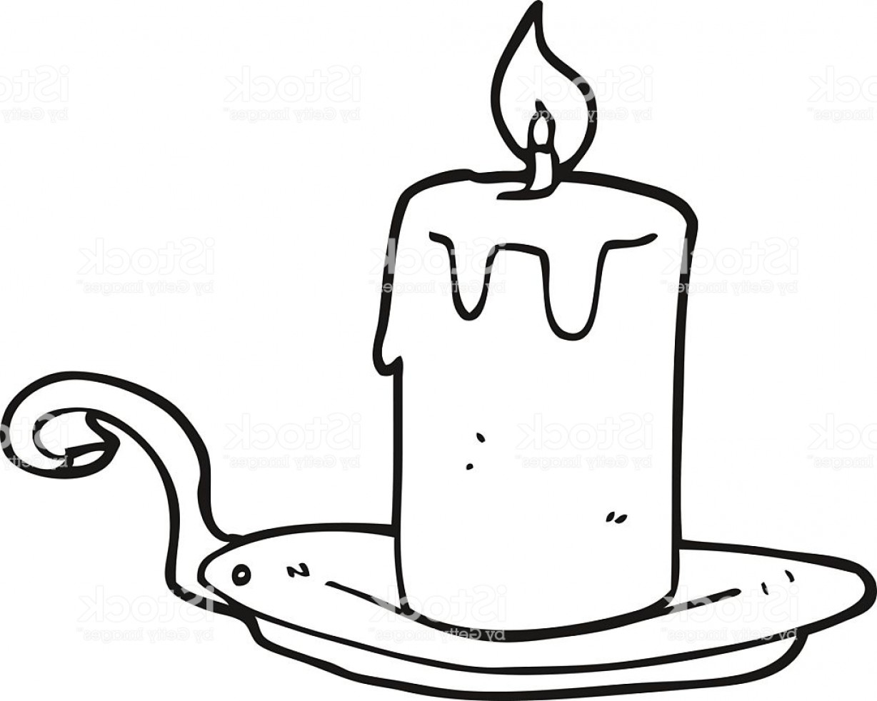 Candle Vector Black: Black And White Cartoon Candle Lamp Gm