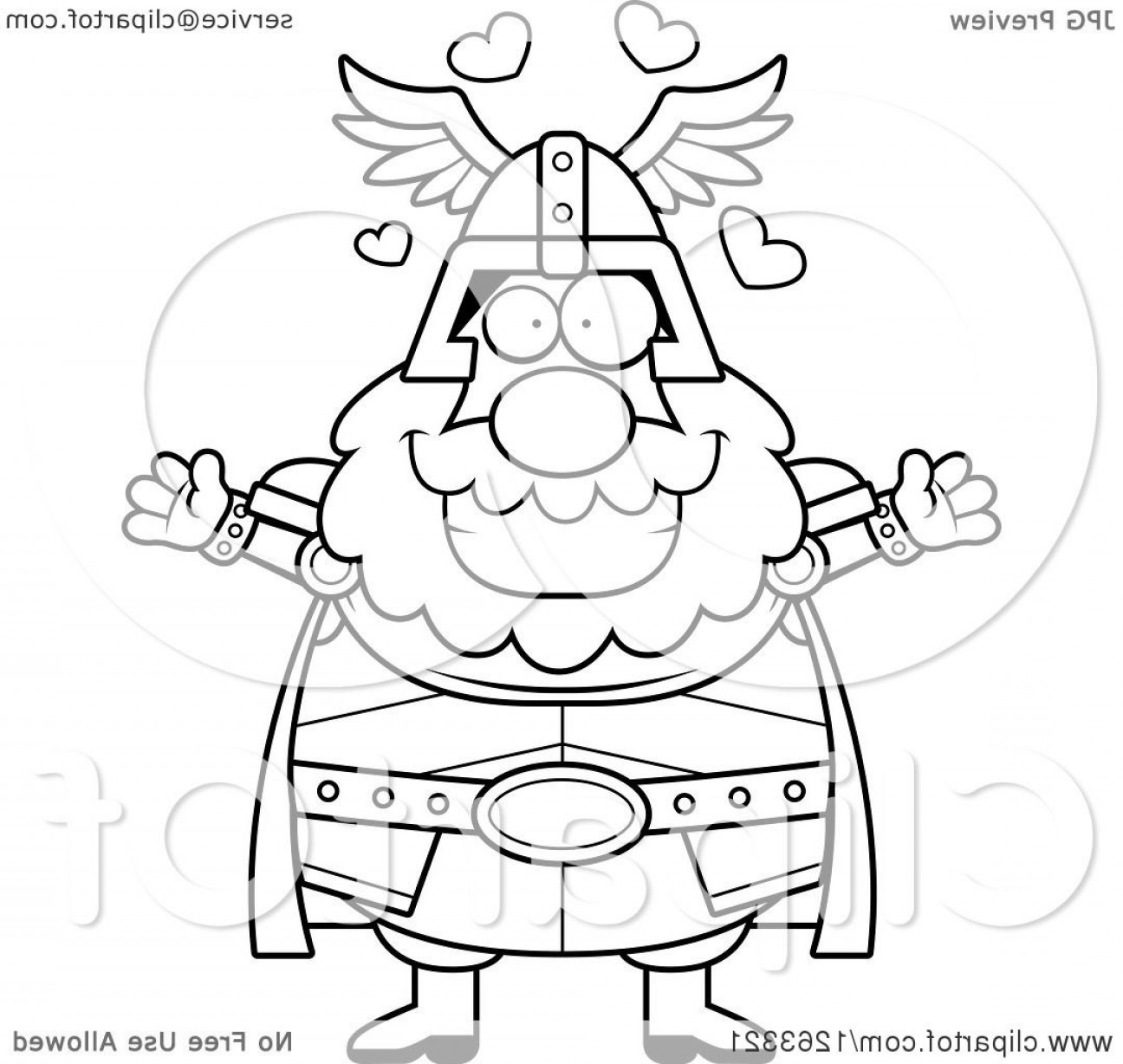 Thor Vector Black: Black And White Cartoon Loving Chubby Thor With Open Arms And Hearts