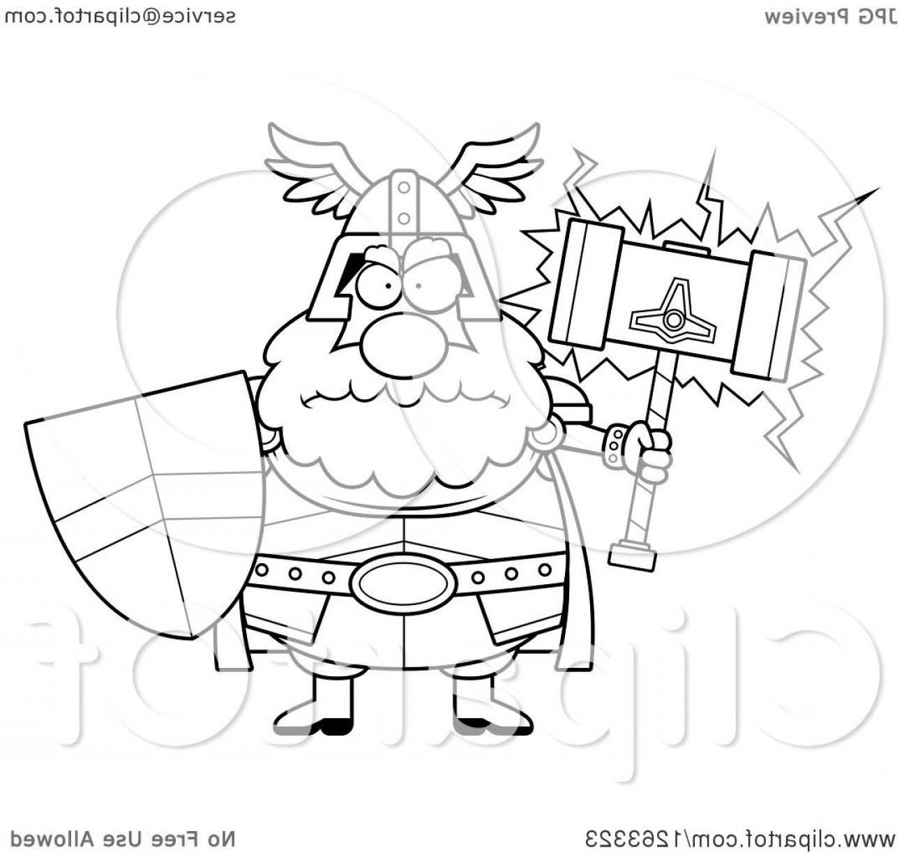 Thor Vector Black: Black And White Cartoon Mad Chubby Thor Holding A Hammer And Shield