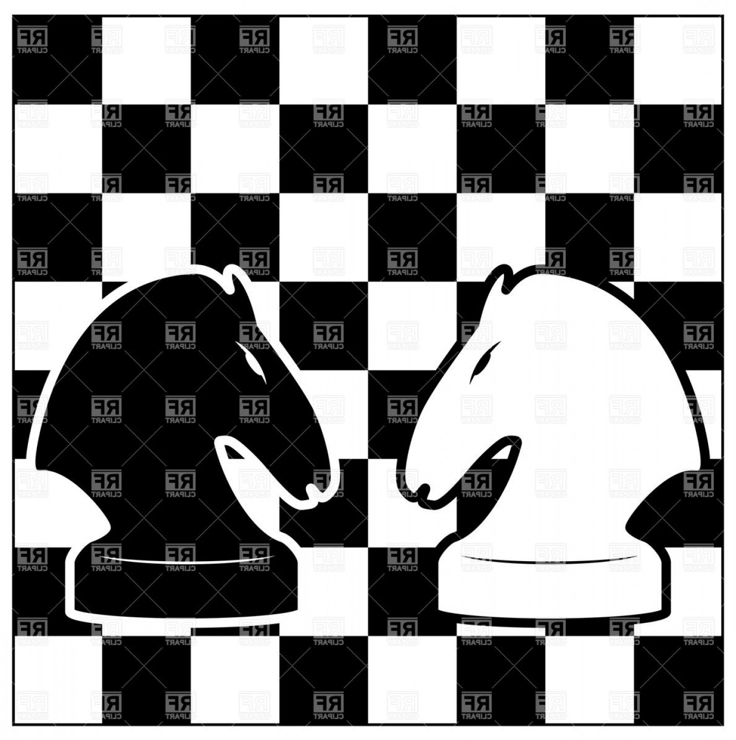 Chess Knight Logo Vector: Black And White Chess Board With Two Knights Vector Clipart