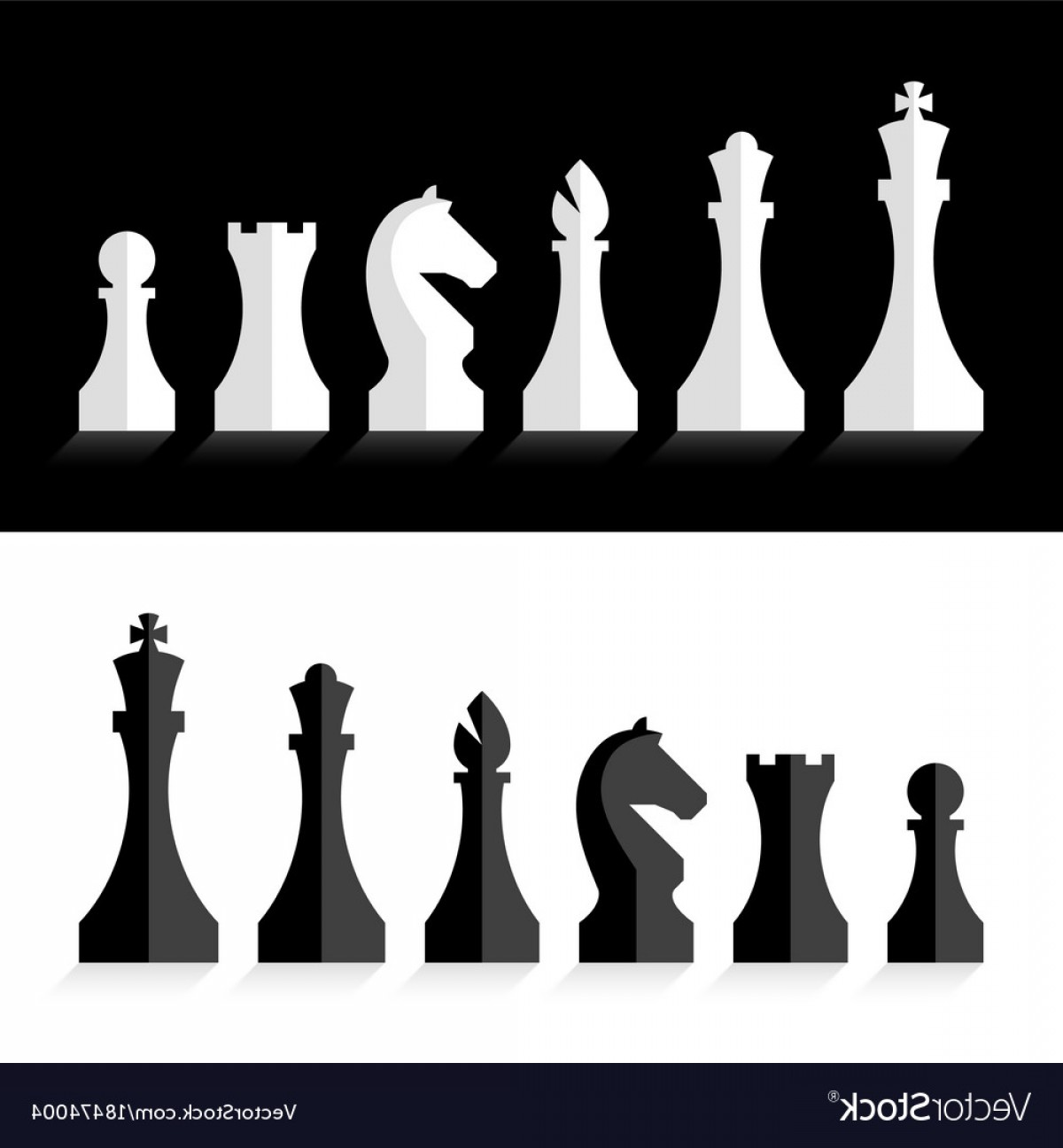Vector Chess Board: Black And White Chess Pieces Flat Design Style Vector