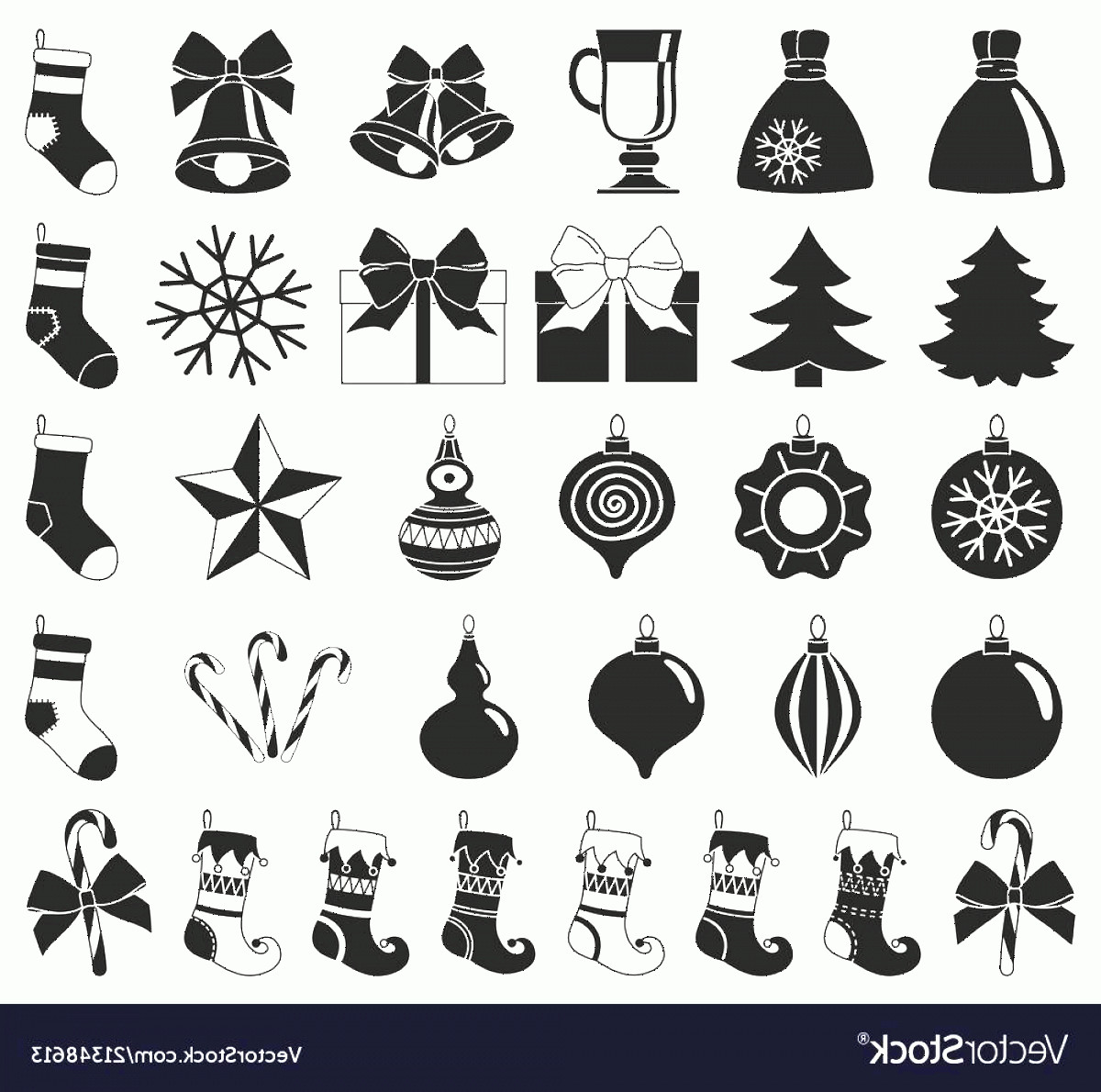 Black And White Christmas Ornament Vector Art: Black And White Christmas Clipart Vector
