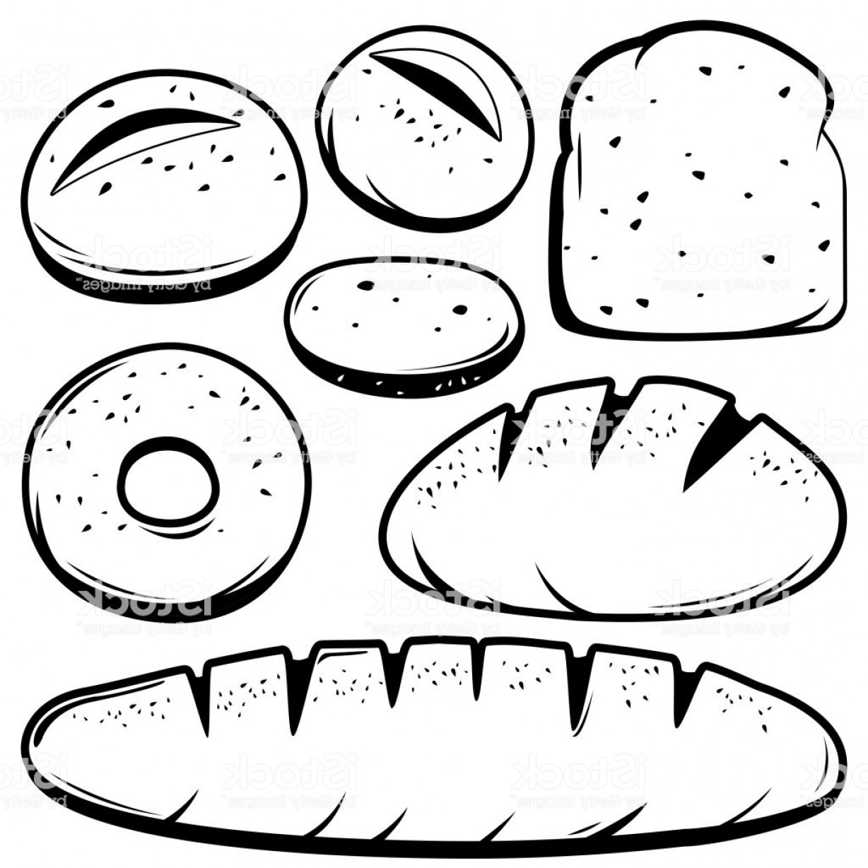 Bread Of Life Vector Art: Black And White Collection Of Different Kinds Of Bread Gm
