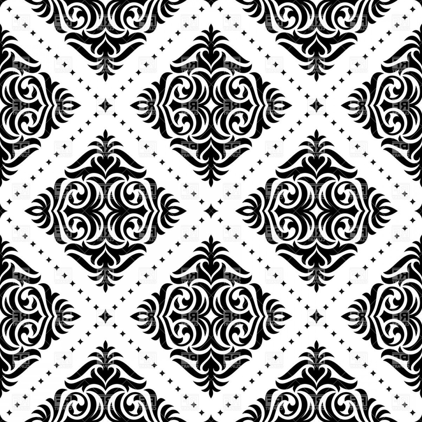 Damask Background Vector Art: Black And White Damask Pattern Vector Clipart