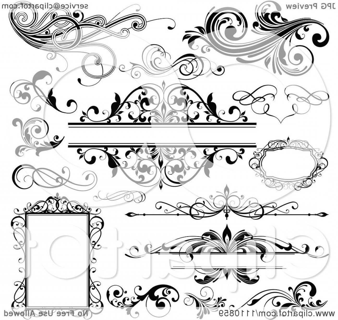 Free Flourish Frame Vector: Black And White Design Elements Frames And Flourishes