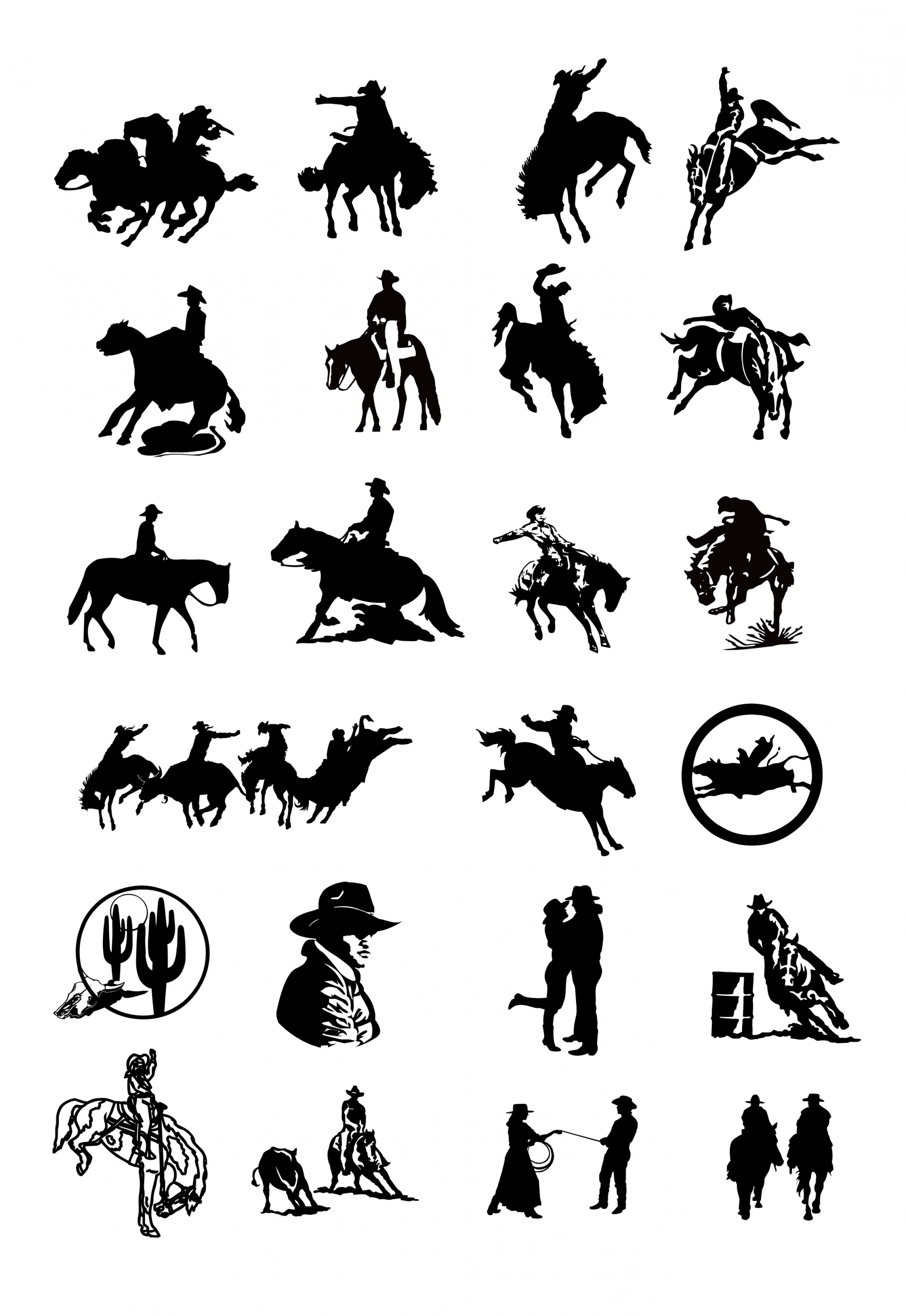 Cowboys Line Drawings Vector: Black And White Drawing Clip Art Cowboy Series Two