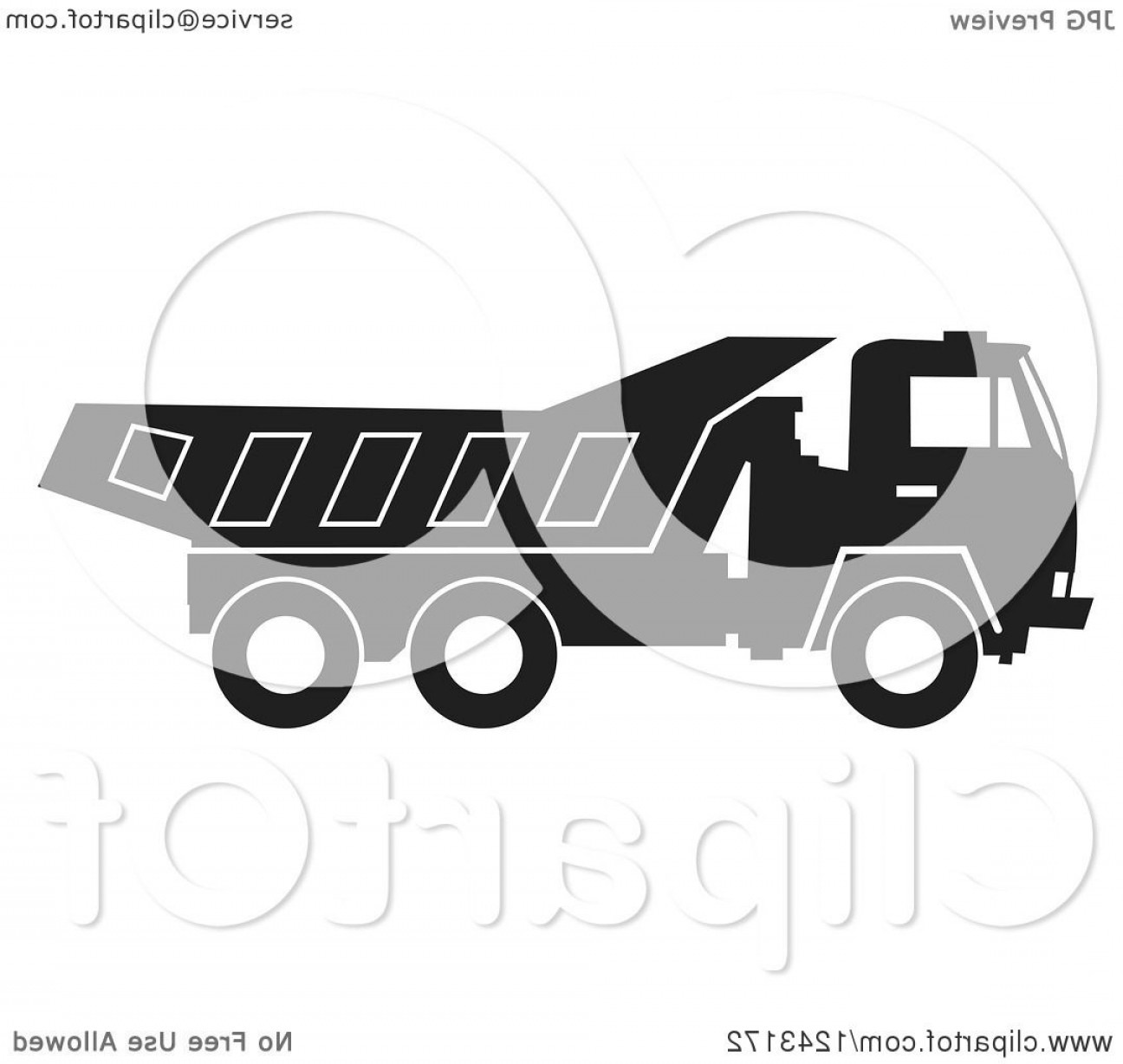 Dump Truck Vector Black And White: Black And White Dump Truck In Profile With A White Outline