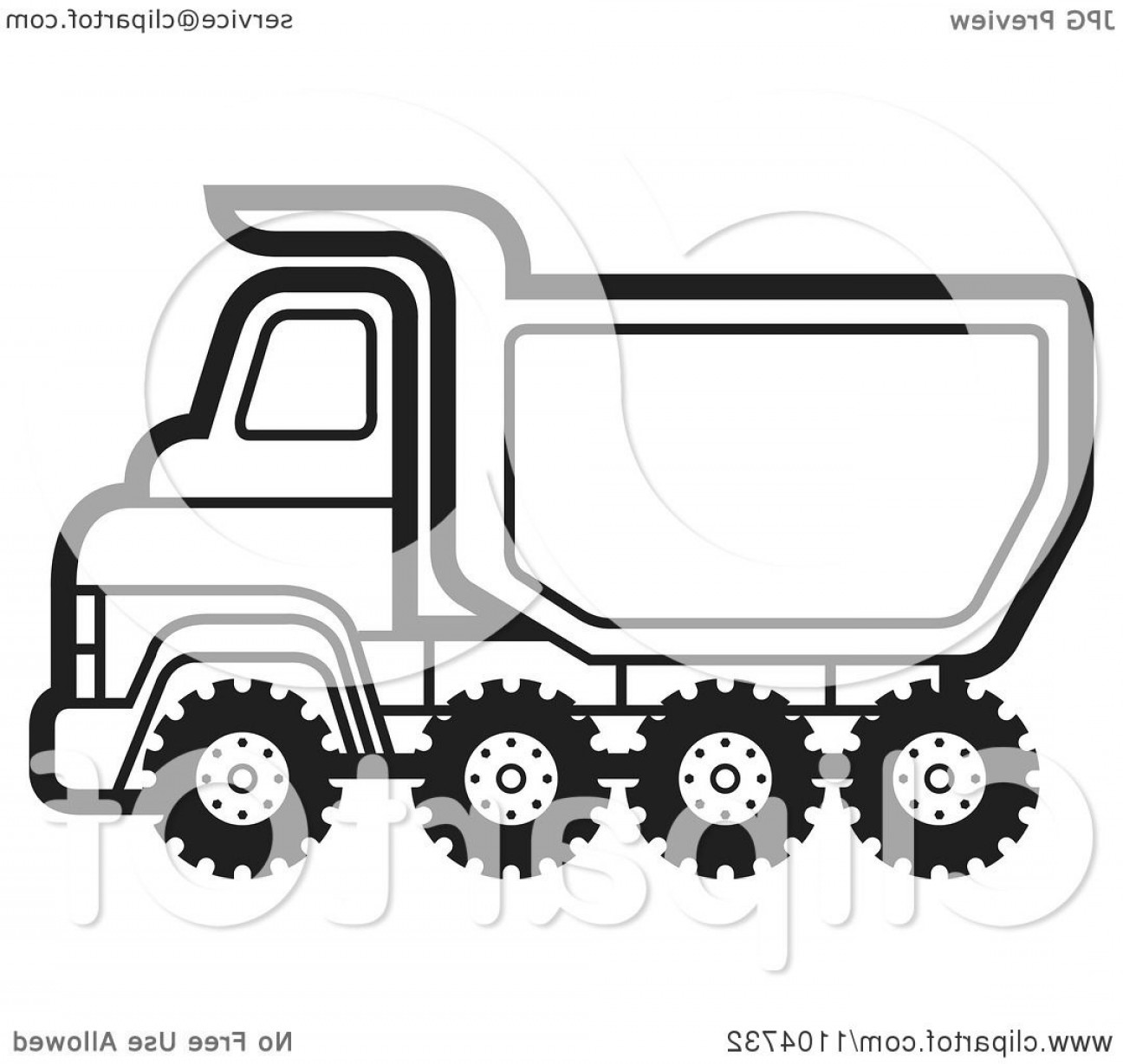 Dump Truck Vector Black And White: Black And White Dump Truck