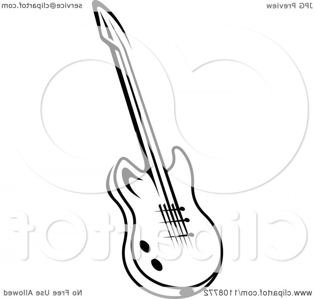 Vector Guitar Clip Art Black And White: Black And White Electric Guitar Musical Instrument