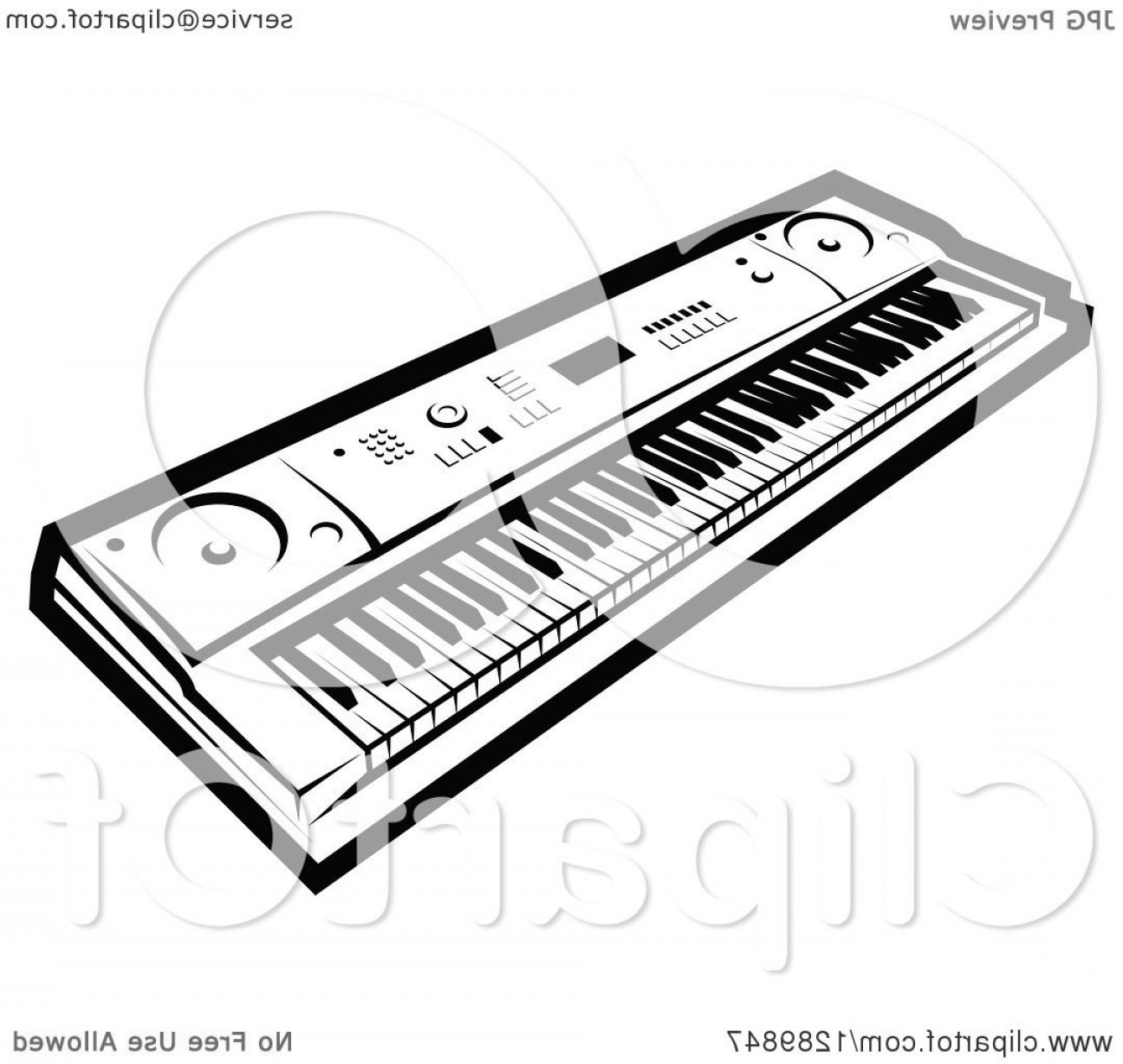 Musical Keyboard Vector: Black And White Electric Music Piano Keyboard
