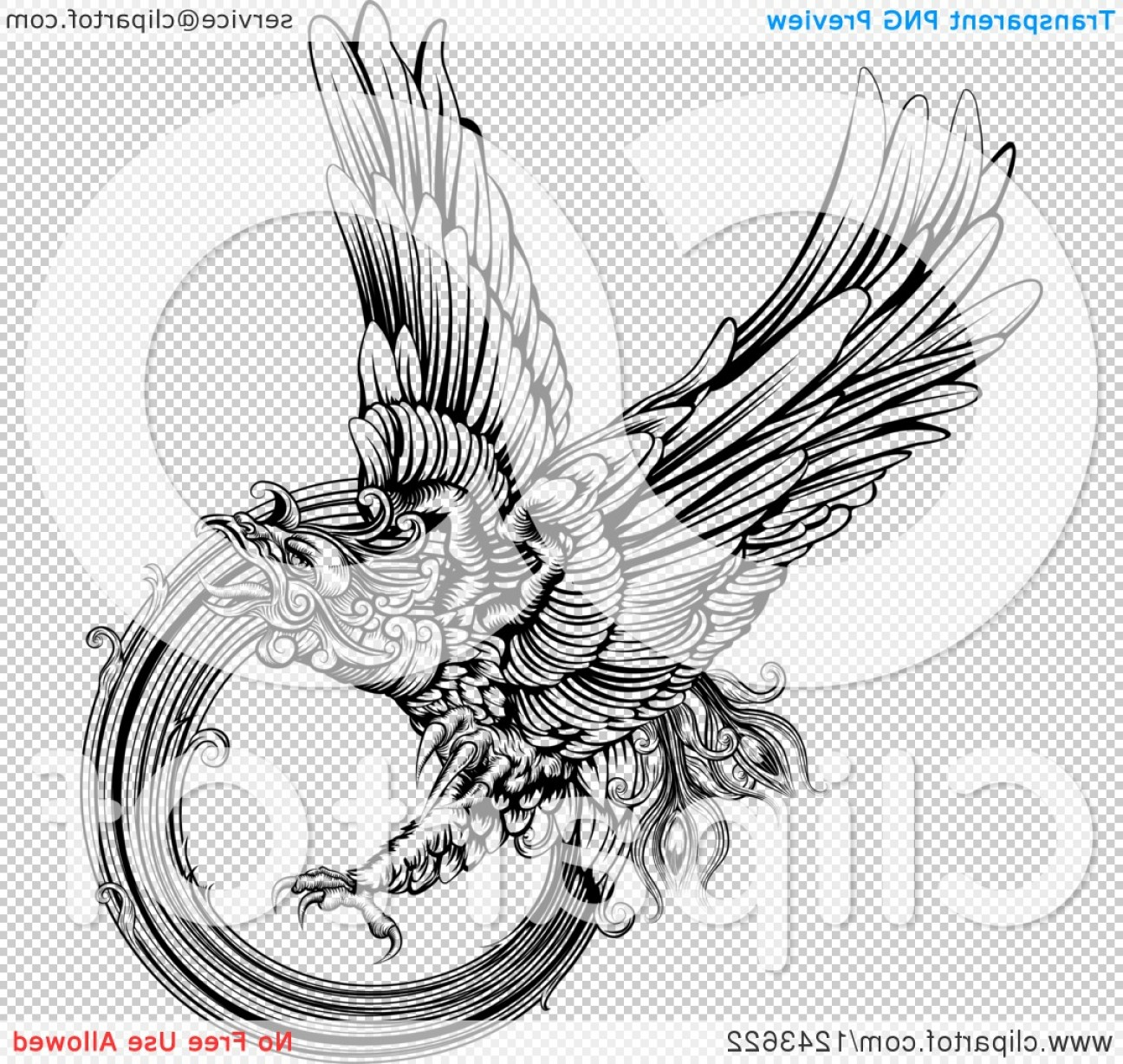 Firebird Vector Transparent Background: Black And White Engraved Majestic Phoenix Bird Flying