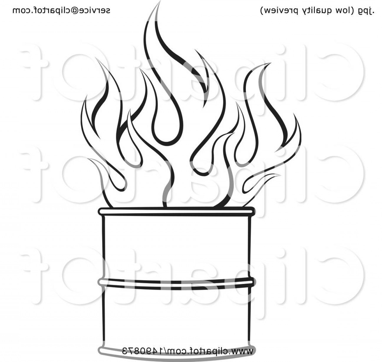 Fire Clip Art Vector: Black And White Fire In A Barrel