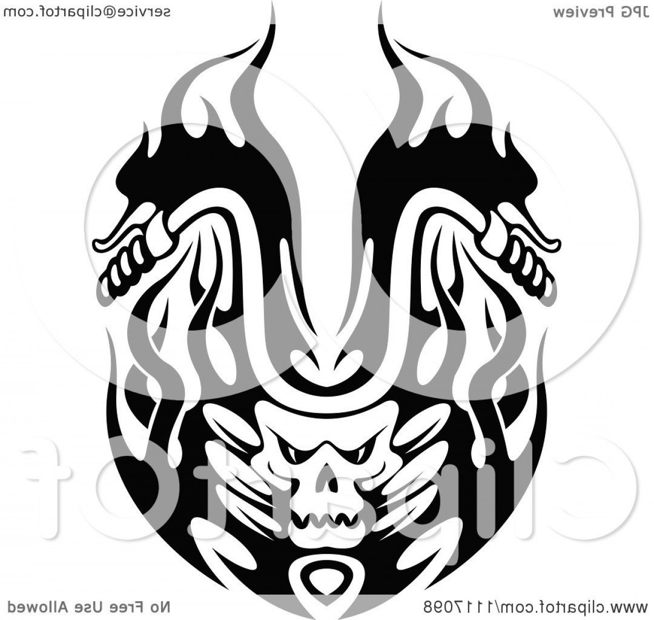 Harley -Davidson Skull Logo Vector: Black And White Flaming Skull Motorcycle Biker Handlebars