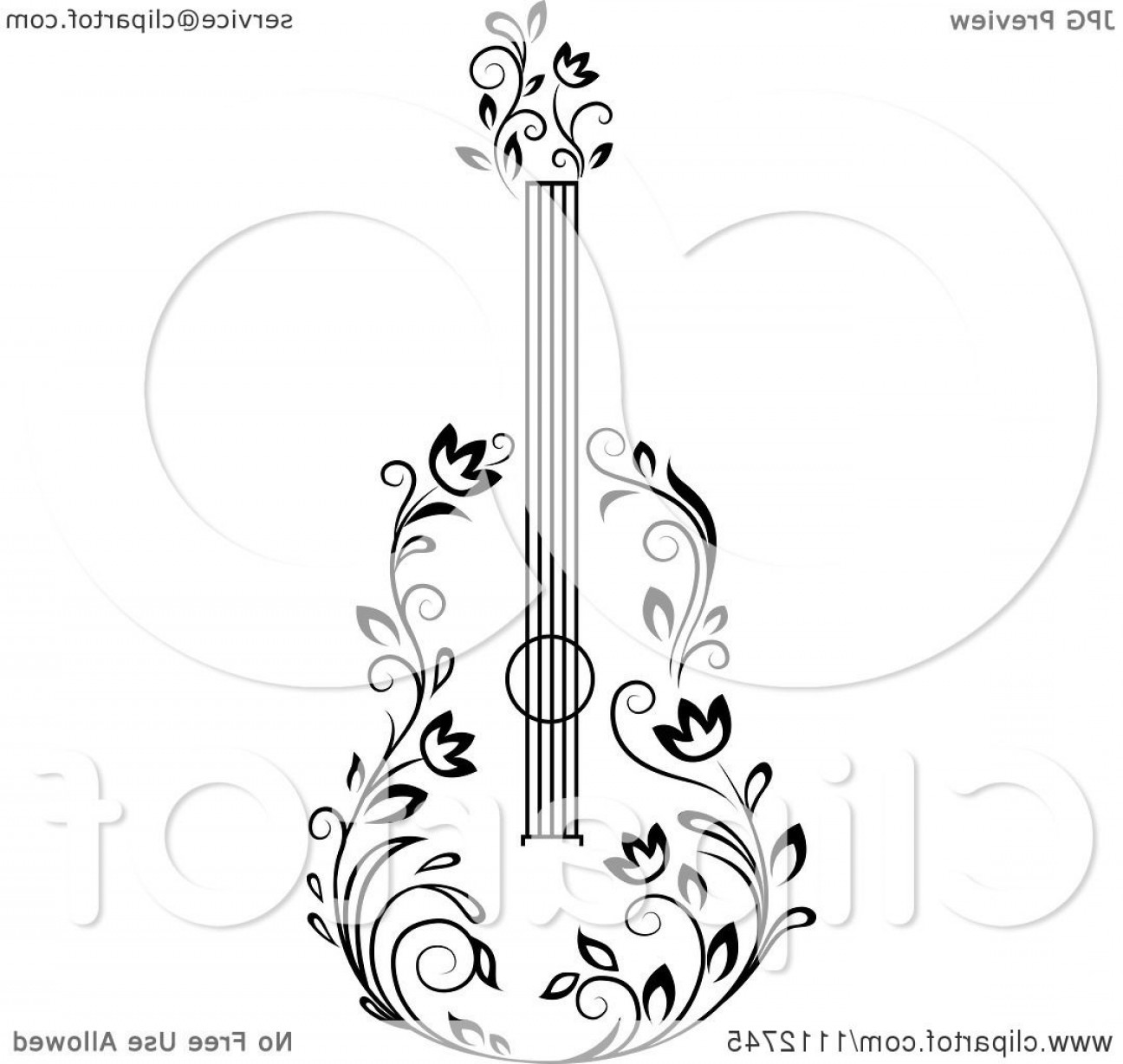 Vector Guitar Clip Art Black And White: Black And White Floral Guitar