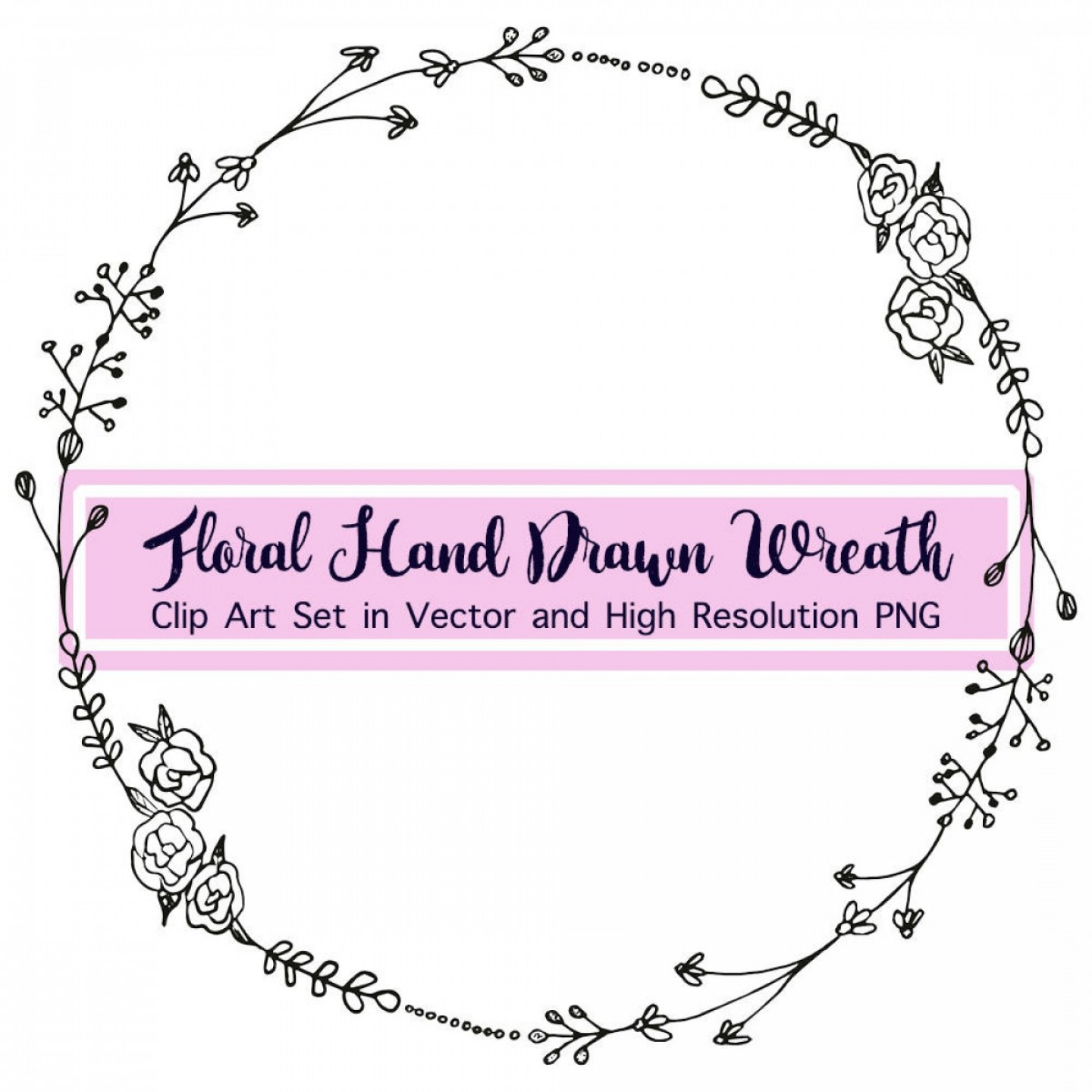 Floral Laurel Wreath Vector: Black And White Floral Wreath Vector