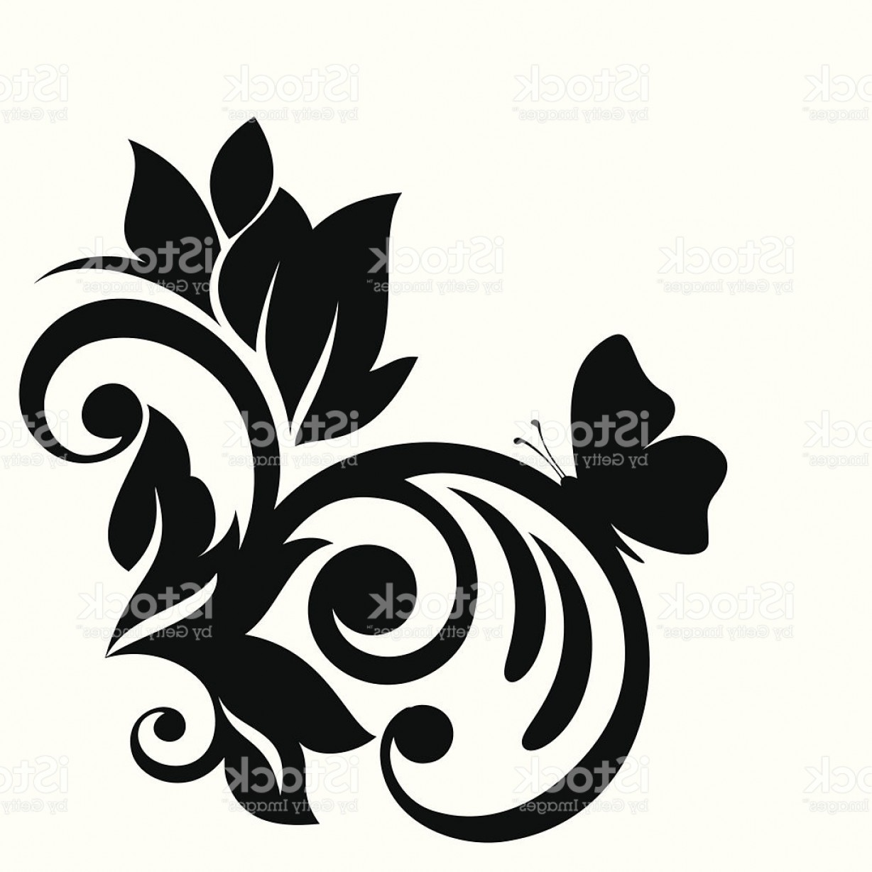 Butter Fly And Flower Vector Black And White: Black And White Flower Leaves And Butterfly Design Element Gm