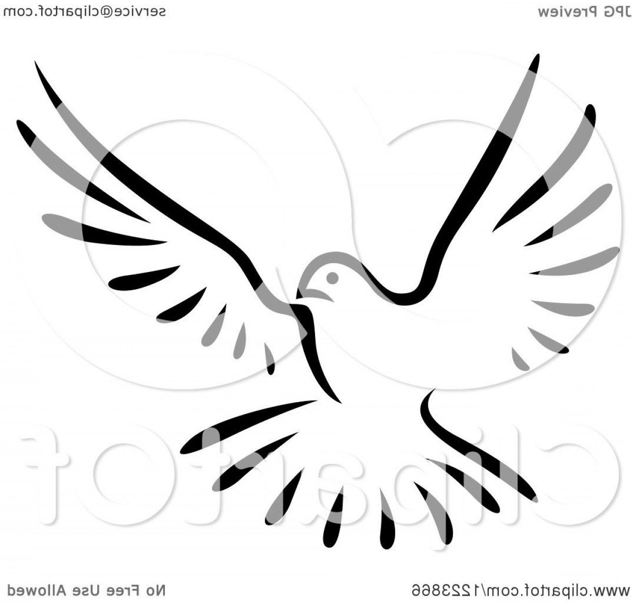 Vector Wedding Doves 2: Black And White Flying Dove